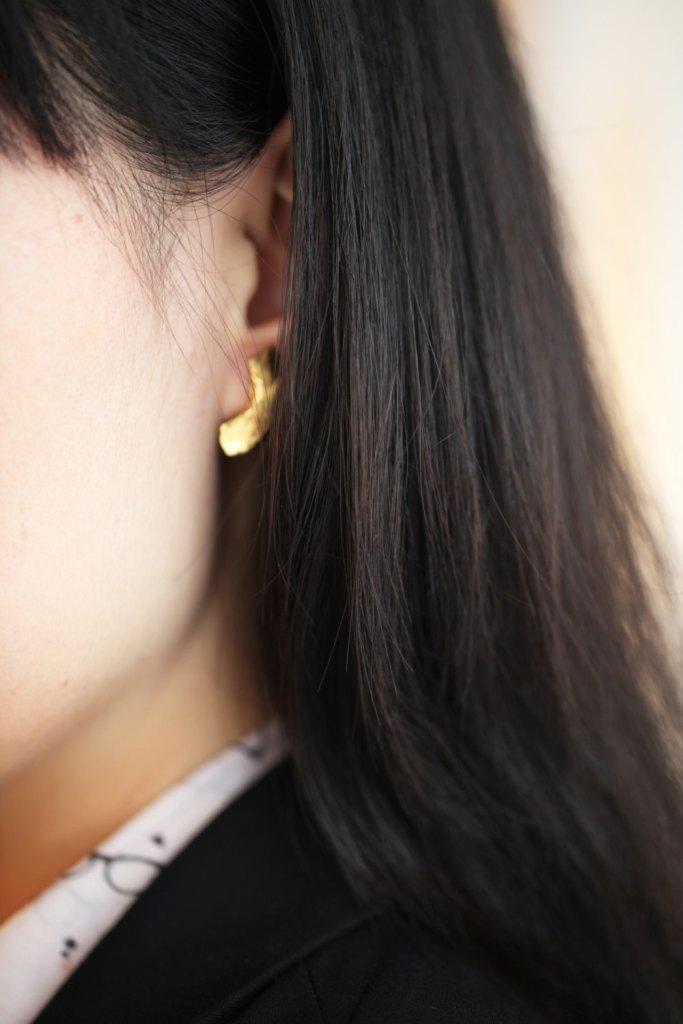 Carmans River, boucles d'oreilles en porcelaine de Limoges et or