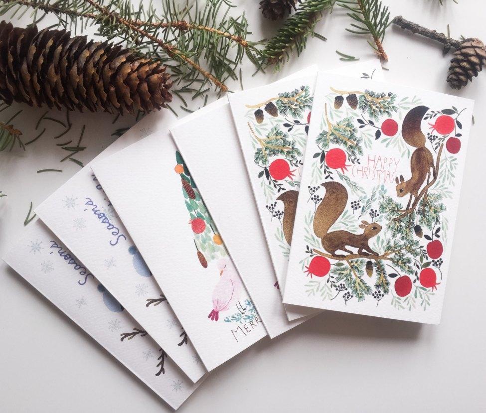 Carte de Noël ensemble, 6 carte de Noël avec illustrations à l'aquarelle, 6 cartes de Noël bois