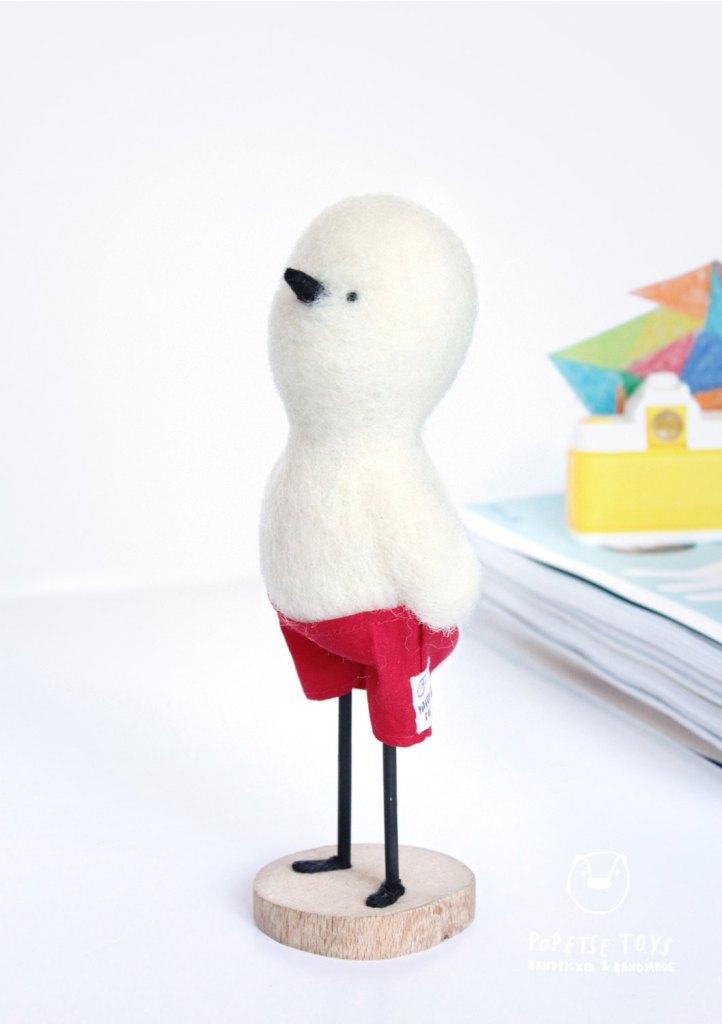 poussin en feutre / sculpture - décoration - douceur - poésie / laine feutrée et coton 100% naturels