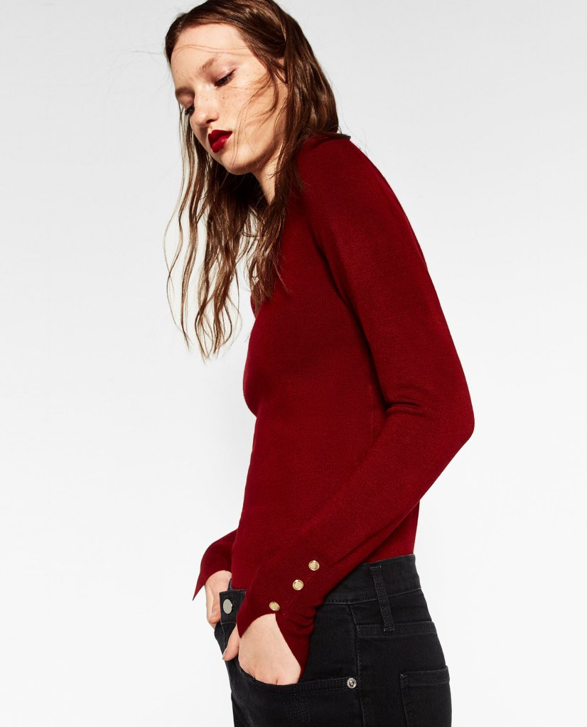 Pull en maille fine rouge brique - Zara