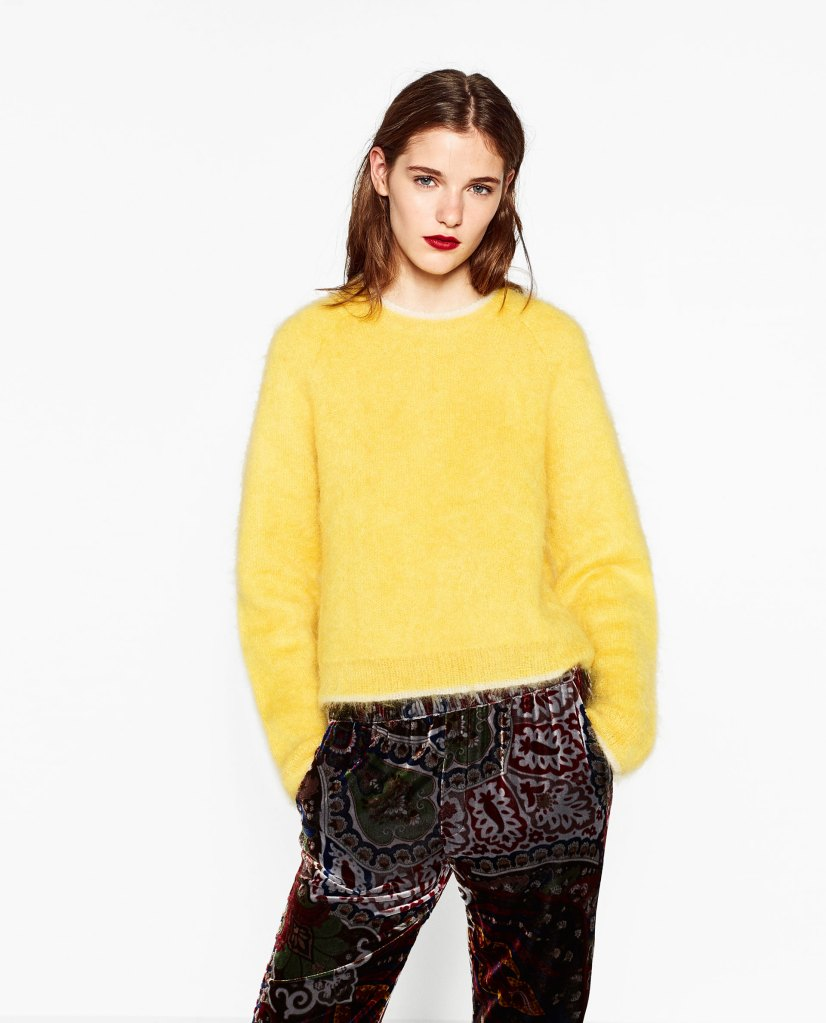 Pull en mohair jaune - Zara