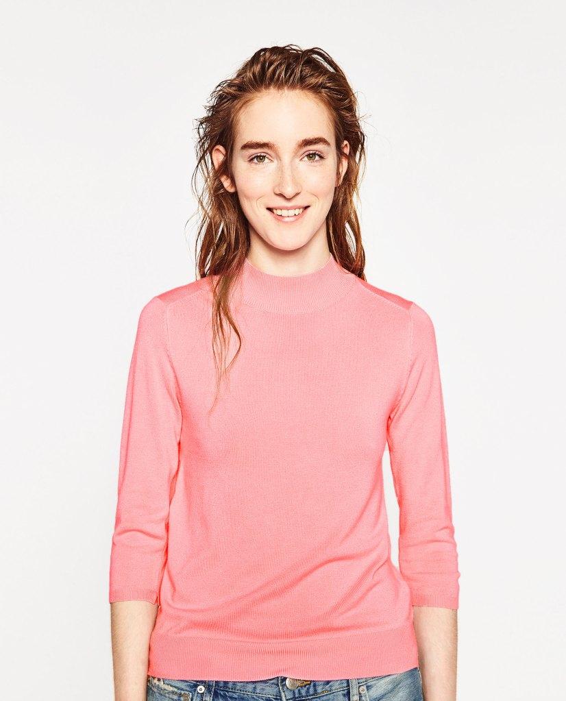 Pull ras du cou rose - Zara