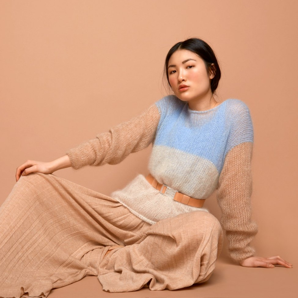 SABRINA WEIGT -> new fashion label, new shop! knit sweater mohair, pale blue, cream, camel, knitwear, knit fashion, modern, minimalistic