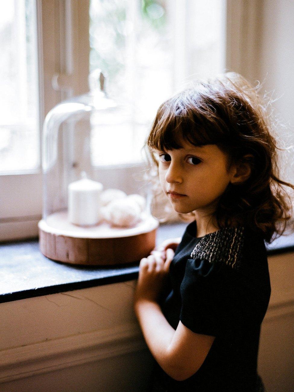 robe d'hiver bi-matière - robe de fêtes pour petite fille - robe noire et grise en laine pour fillette 2 à 8 ans