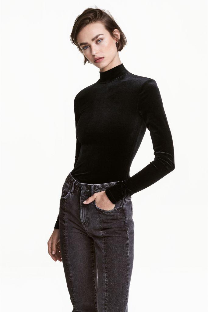 Body col roulé en velours H&M