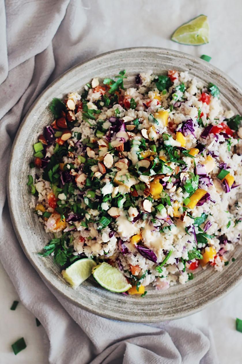 Recette végétarienne Pinterest - Salade de chouxfleur façon Thaï