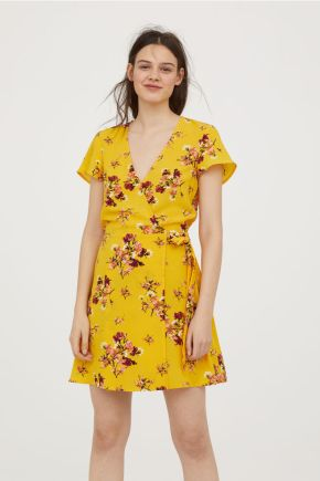 Robe portefeuille jaune à fleurs