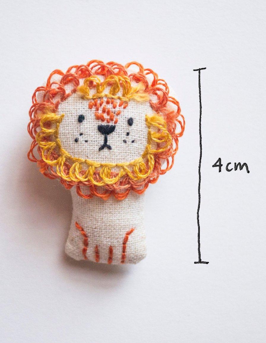 Mini broche brodée lion - Momshoo