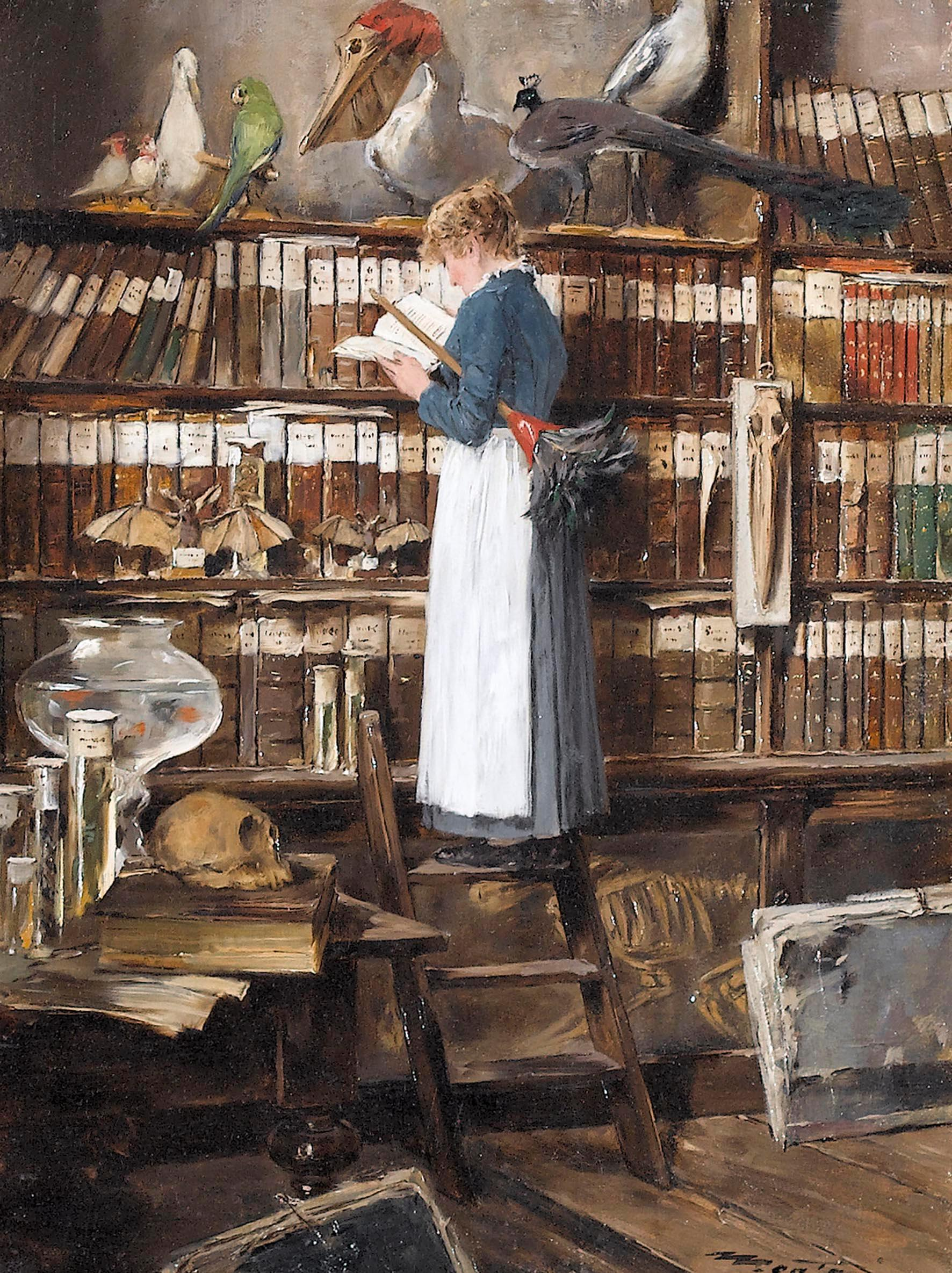 Lecture - Edouard Menta - Bibliotheksinterieur mit lesender Magd