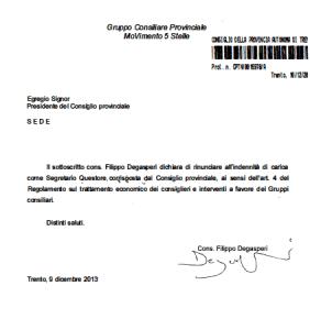 Filippo Degasperi rinuncia a 6120 euro lordi di indennità da componente ufficio di presidenza