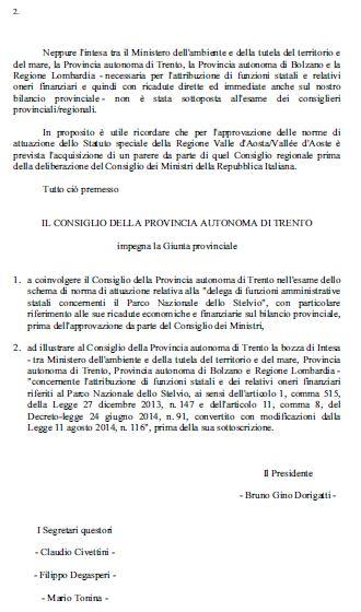 Parco dello Stelvio: la Giunta firma l'accordo senza passare per il Consiglio