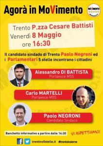 Alessandro Di Battista e Carlo Martelli a Trento, Rovereto e Riva venerdì 8 maggio