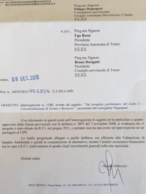2015-09-08 Risposta assessore mobilità PAT Gilmozzi a interrogazione su progetto preliminare Lotto 3 Circonvallazione Trento e Rovereto