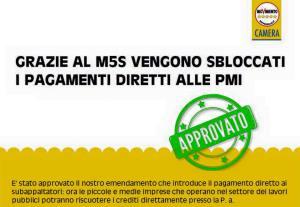 Appalti. Fraccaro (M5S): Approvato nostro emendamento per pagamento diretto a piccole imprese ed estensione competenze province autonome
