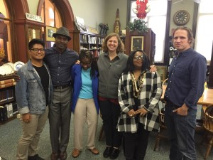 The Trenton Makes Music Team, Summer, 2016. From left, Gabriel Salazar, Louinel Jean, Kim Pearson, Teresa Nakra, Christopher Tenev. Not pictured: Patrick Roderman. Photo taken at the Trentoniana Room of the Trenton Public Library.