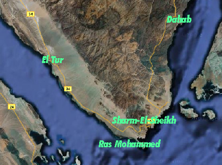 Sinai peninsula. Gulf of Suez on the left, Red Sea on the right