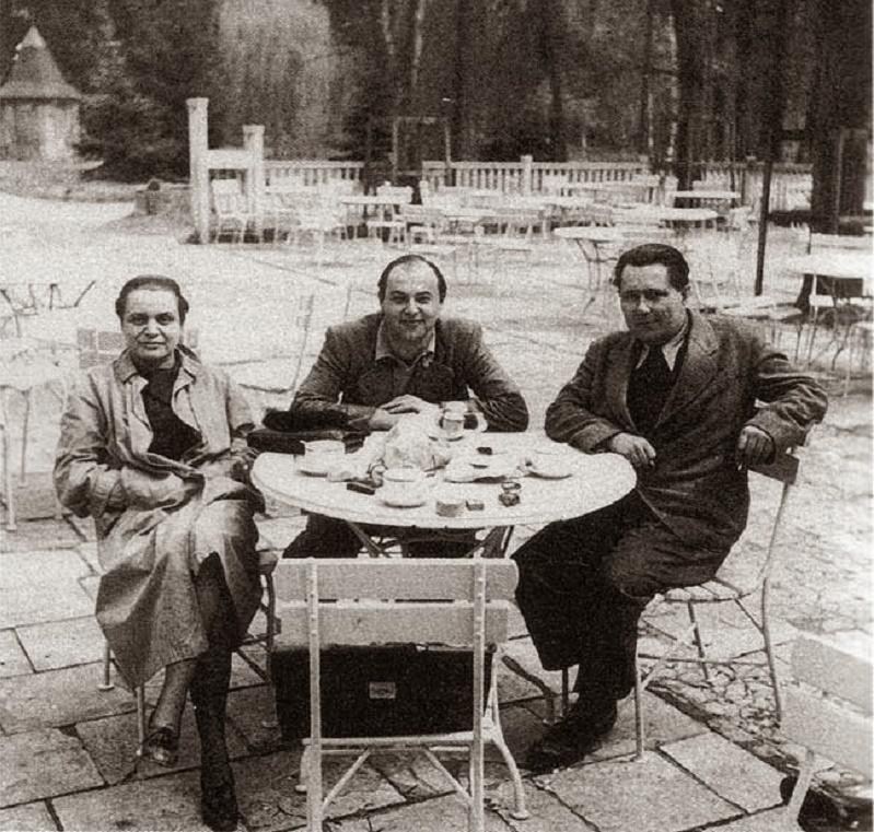 c. 1940, Toyen (as a woman again), Jindrich Heisler and Karel Teige in Prague.