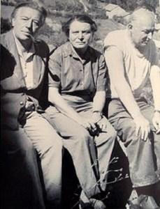c. 1956, André Breton, Toyen and Benjamin Péret.