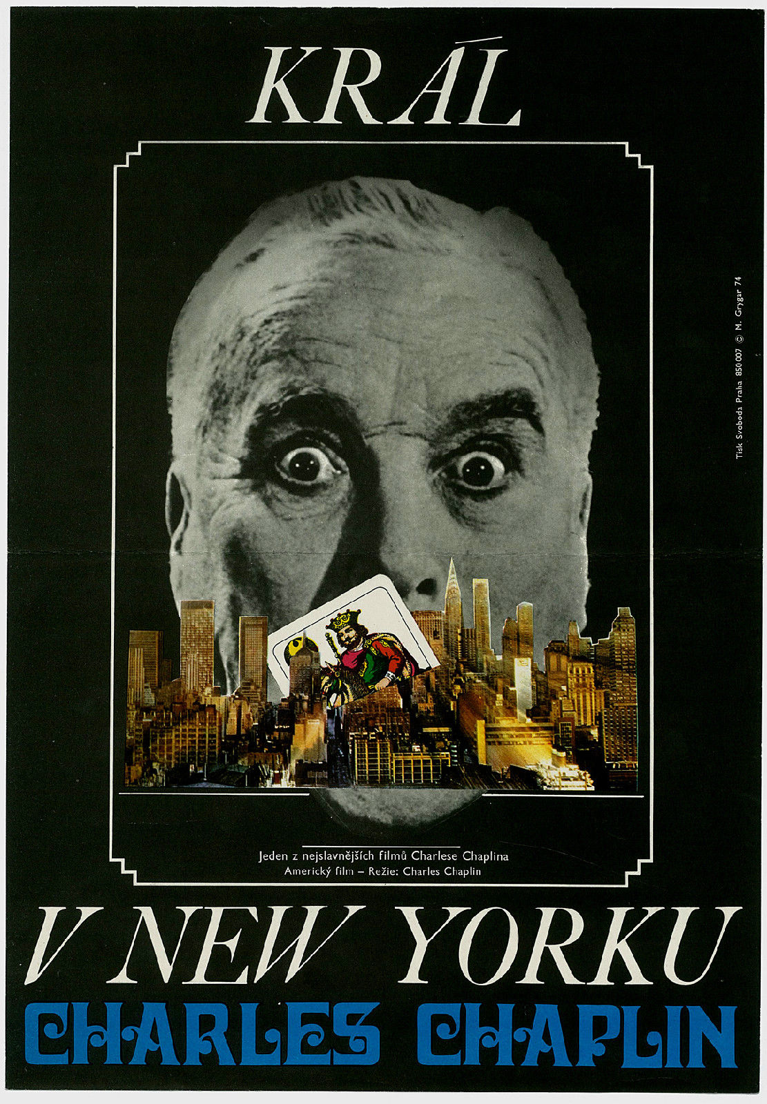 Rare Czech movie poster for King in New York Charlie Chaplin