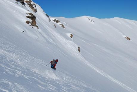 Gianluca durante la discesa sulla parete E dalla Cima Forzellina 2829 m.