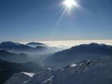 Un po' di nuvole basse guardando verso la Pianura Padana.