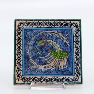 Carreau emaille, peint a la main en ceramique CS12