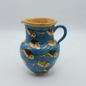 Pichet / Carafe à eau ou vin en Céramique Motif Poisson V14