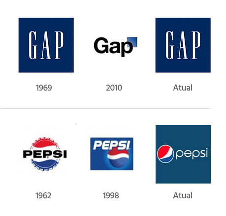 Exemplos de readequação de logotipos