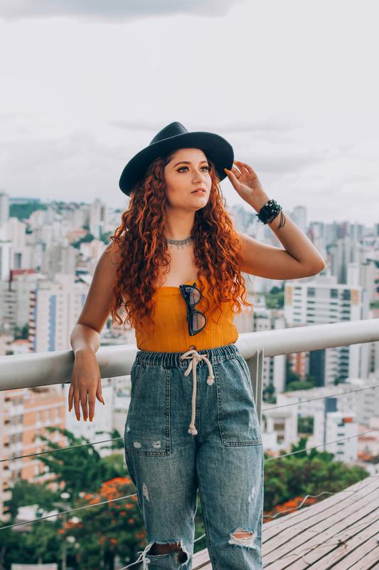 Woman wearing denim jeans