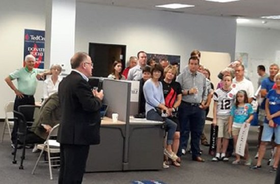 Trevor Loudon speaking at the opening of Ted Cruz's campaign office in Des Moines, Iowa