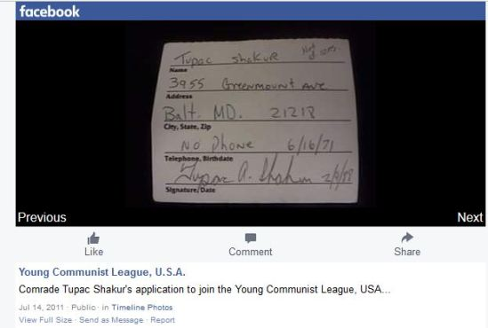 Tupac Shakur's application to the Communist Party via Facebook