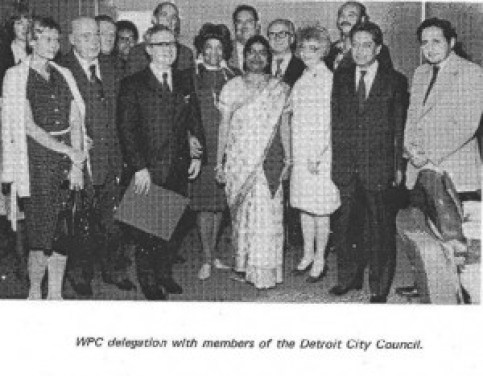 Erma Henderson center, Maryann Mahaffey, fourth from right, Clyde Cleveland, third from right, with a delegation from the Soviet front World Peace Council, 1975