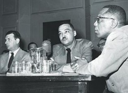 Coleman Young, HUAC hearings. Lawyer George Crockett, right