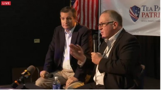 Ted Cruz onstage with Trevor Loudon via Breitbart [screenshot]