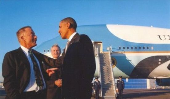 Terry Bean with Obama by Air Force One via Washington Times