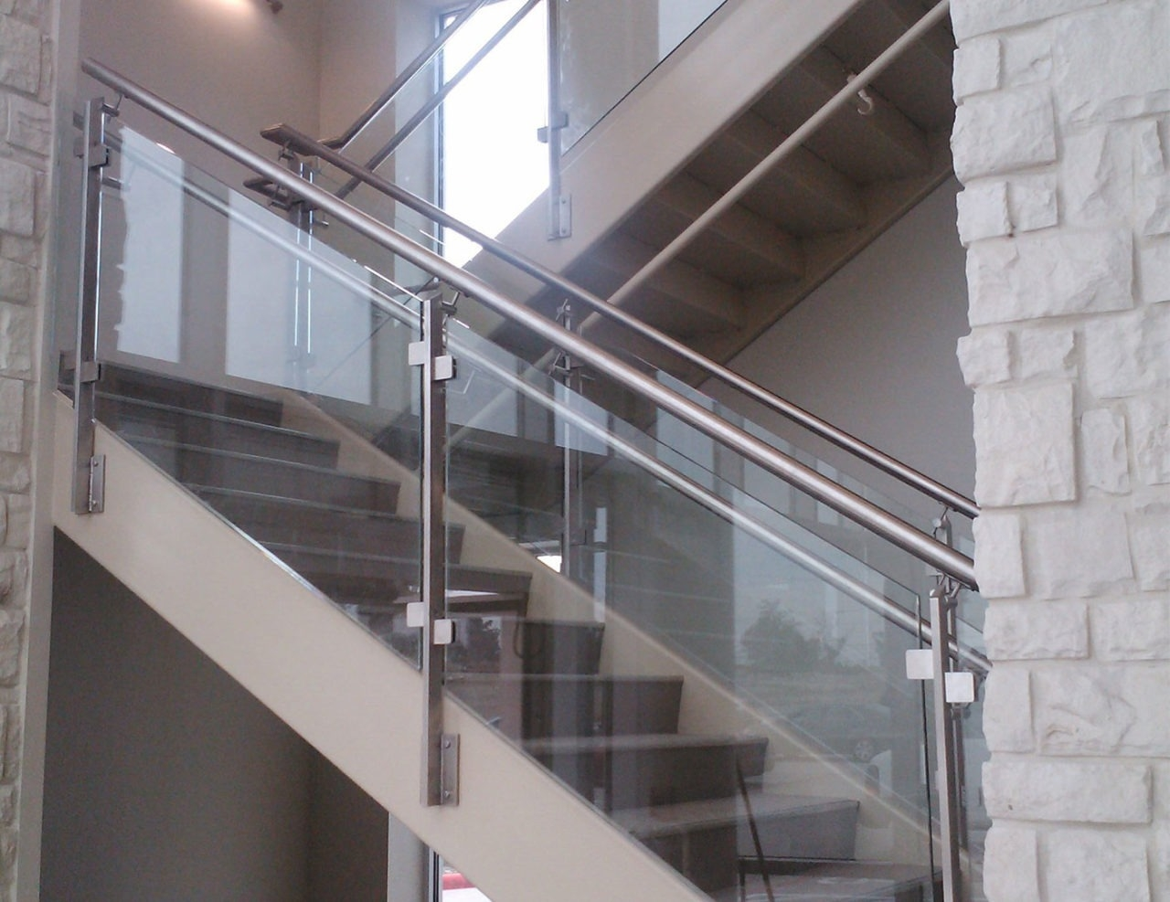 Summit Architectural Glass Railing Emerus Hospital Trex   Glass Stair Railing Near Me   Interior   Railing Systems   Stainless Steel   Tempered Glass Panels   Iron