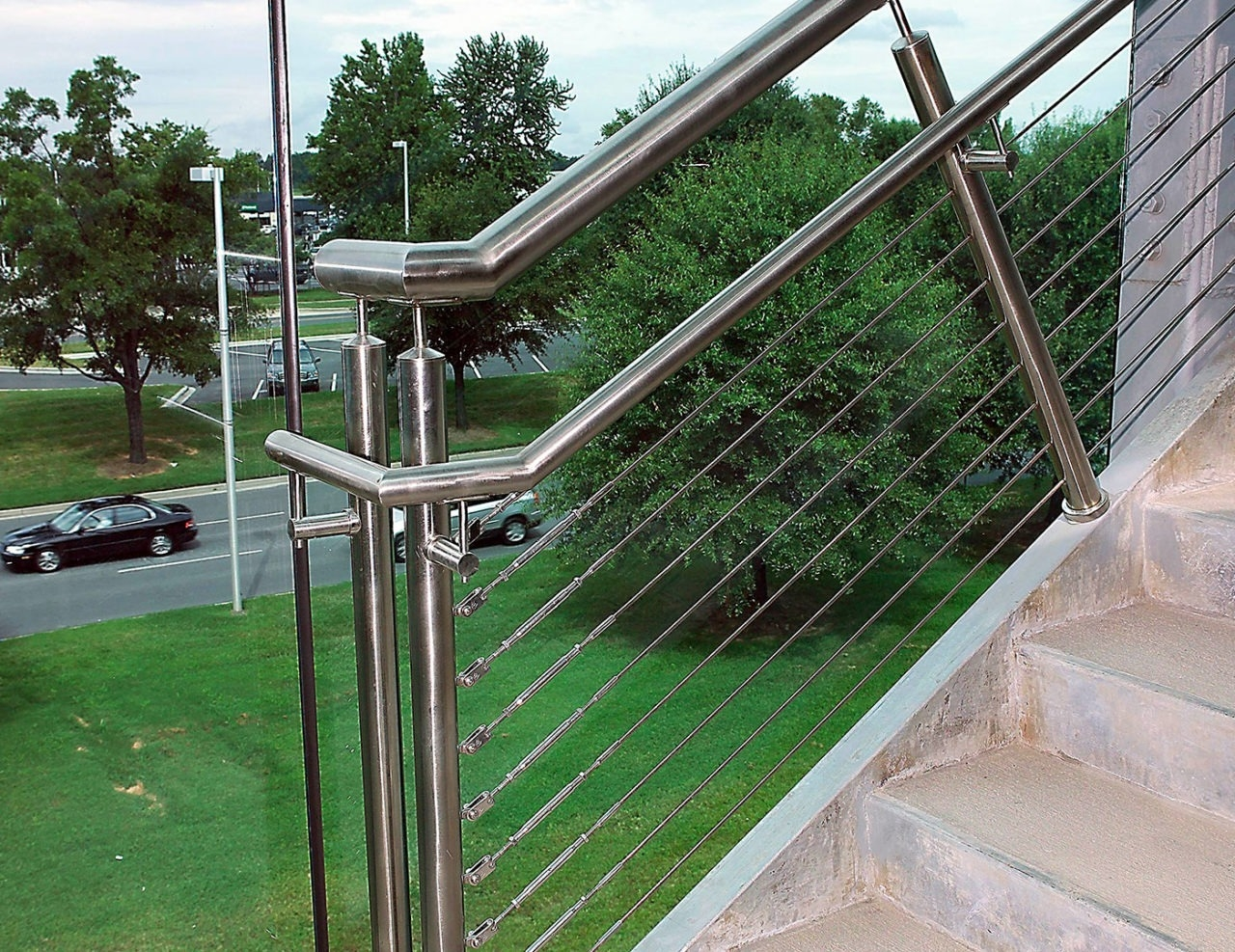 Casino Commercial Cable Railings Trex Commercial Products   Steel Cable Stair Railing   Diy   White   Balcony   Steel Wire   Industrial