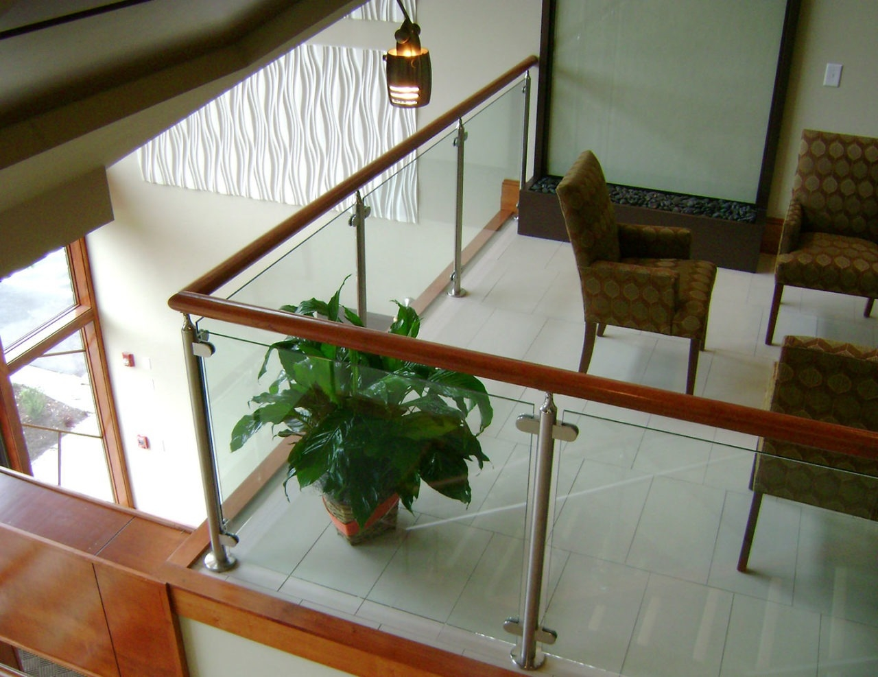 Monaco Post Supported Glass Railing Trex Commercial Products   Wood And Glass Staircase   New   Spiral   Stair Railing   Design   Stair Case