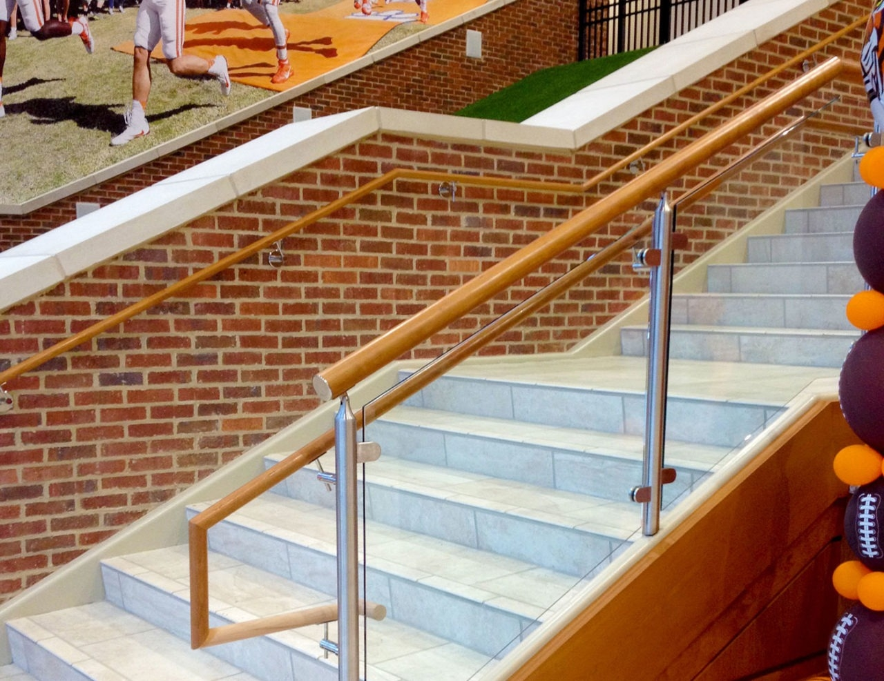 Monaco Post Supported Glass Railing Trex Commercial Products | Wood And Metal Handrail | Farmhouse | Contemporary | Indoor | Industrial | Modern