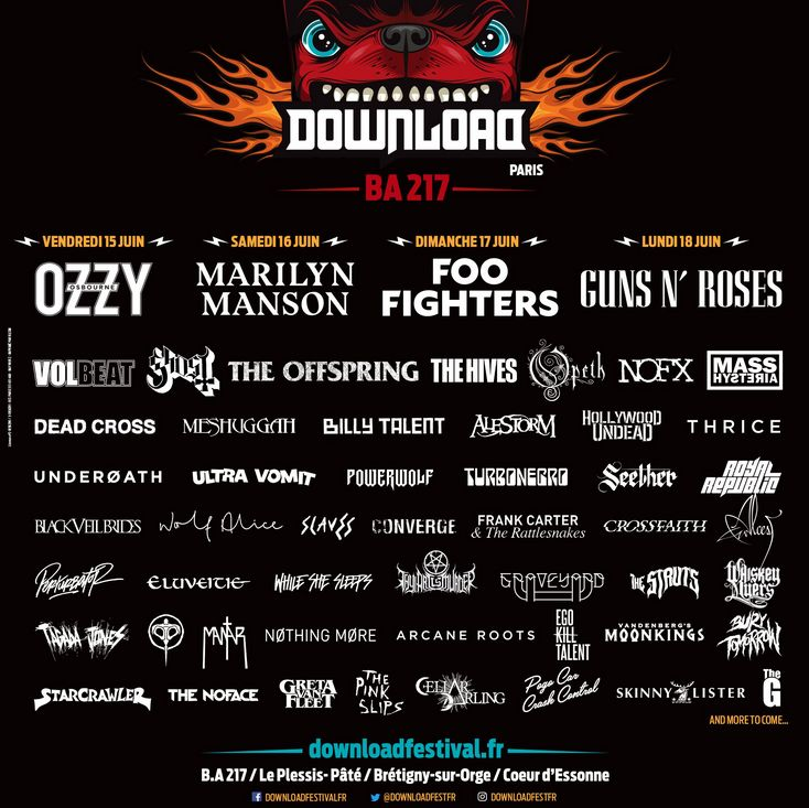 DOWNLOAD FESTIVAL FRANCE : 30 nouveaux noms à l'affiche !