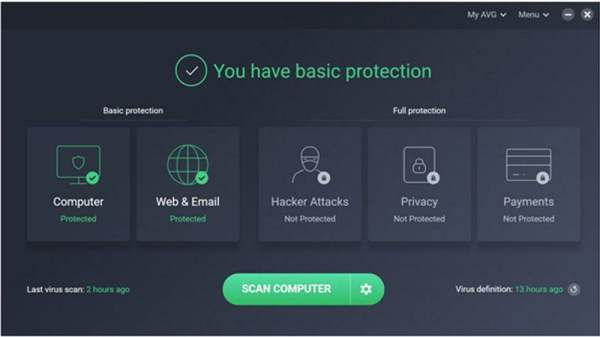 AVG interface1 Antivirusni programi