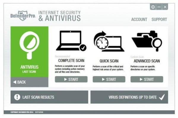 Defender Pro interface Antivirusni programi