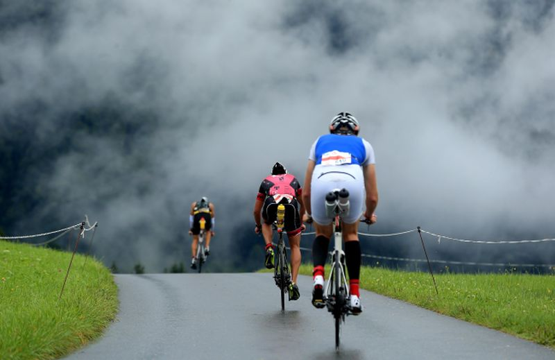 WALCHSEE, AUSTRIA - SEPTEMBER 03: Athletes on the bike course during the Challenge Walchsee-Kaiserwinkl Triathlon on September 3, 2017 in Walchsee, Austria. (Photo by Stephen Pond/Getty Images)