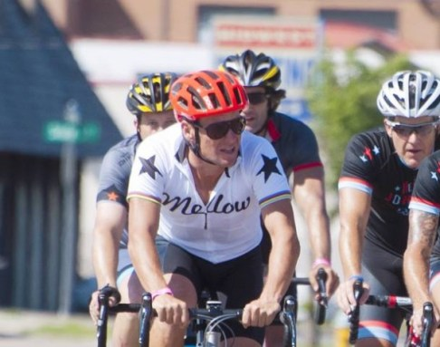 Lance Armstrong prepares to take part in The Des Moines Register's Annual Great Bicycle Ride Across Iowa in Council Bluffs