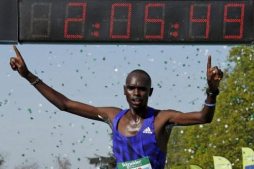 Mark Korir of Kenya crosses the finish line to win the 39th Paris Marathon in Paris