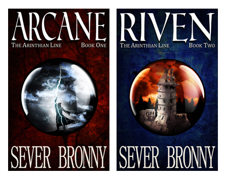 Arcane and Riven fantasy book covers side by side