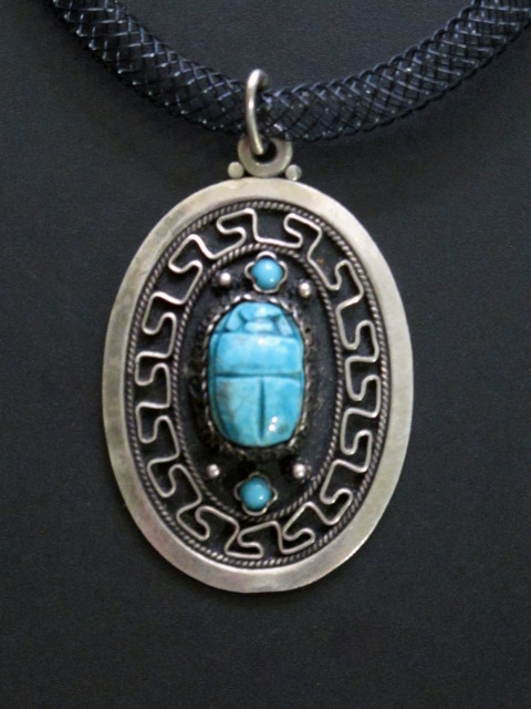Blue Faience Scarab And Silver Amulet Necklace