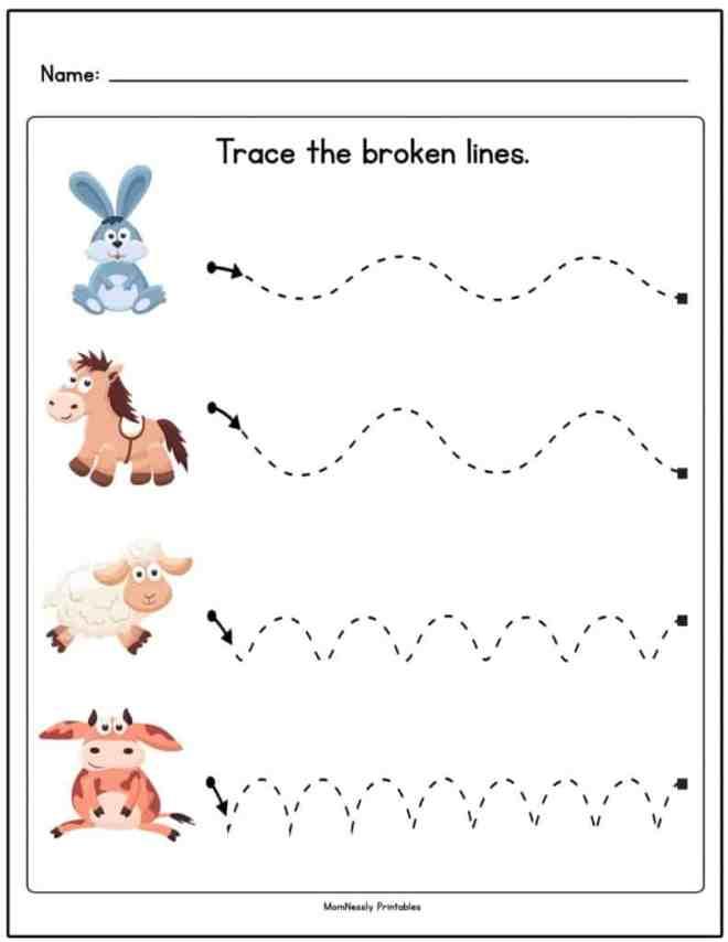 Tracing Lines Worksheets - https://tribobot.com