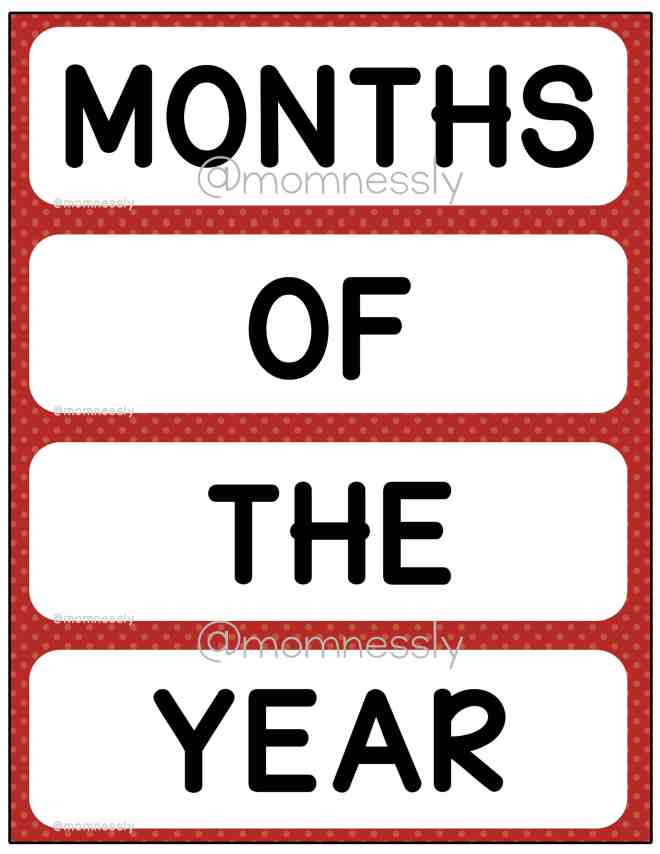 Free Printable: Months of the Year