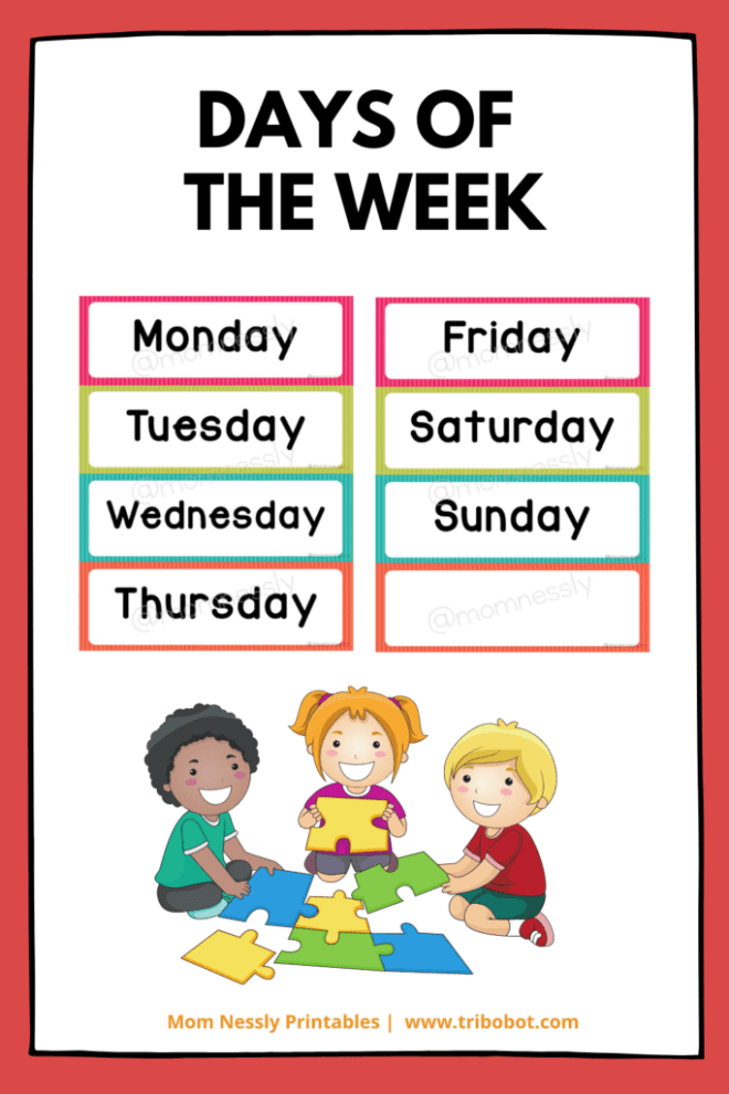Free Printable: Days of the Week Flashcards